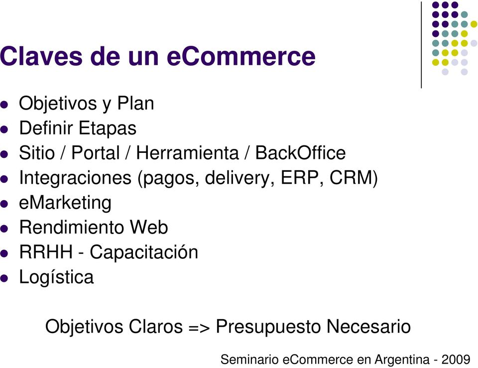 (pagos, delivery, ERP, CRM) emarketing Rendimiento Web RRHH
