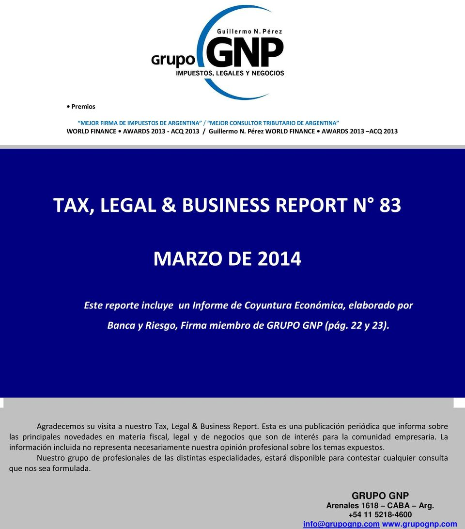 22 y 23). Agradecems su visita a nuestr Tax, Legal & Business Reprt.