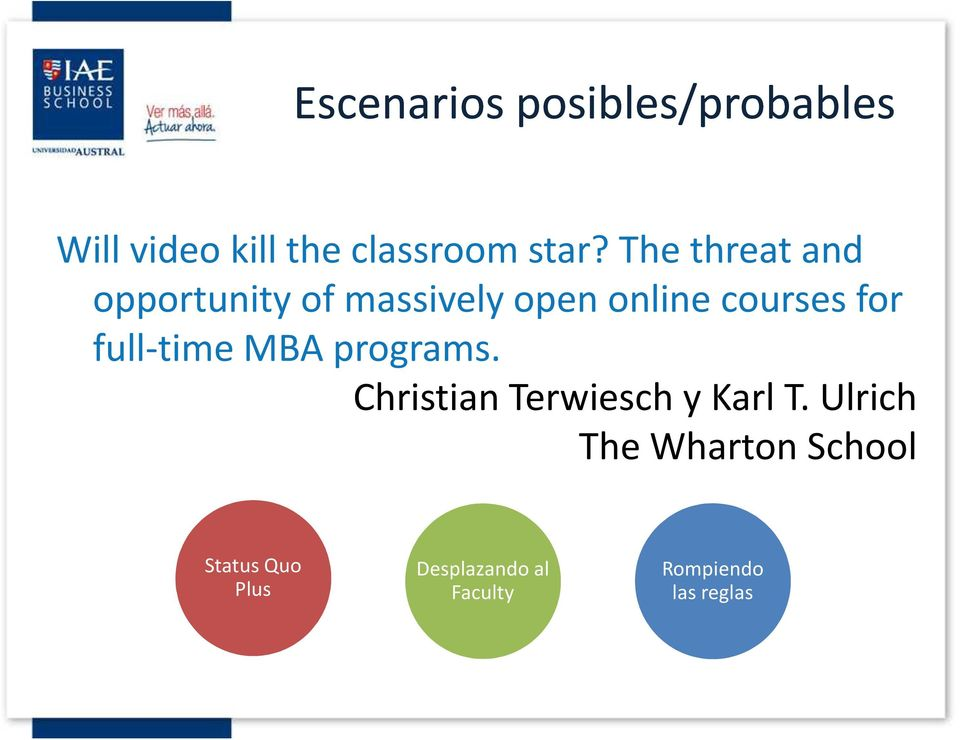 full-time MBA programs. Christian Terwiesch y Karl T.