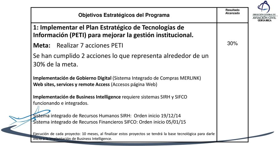 Resultado Alcanzado 30% Implementación de Gobierno Digital (Sistema Integrado de Compras MERLINK) Web sites, services y remote Access (Accesos página Web) Implementación de Business Intelligence