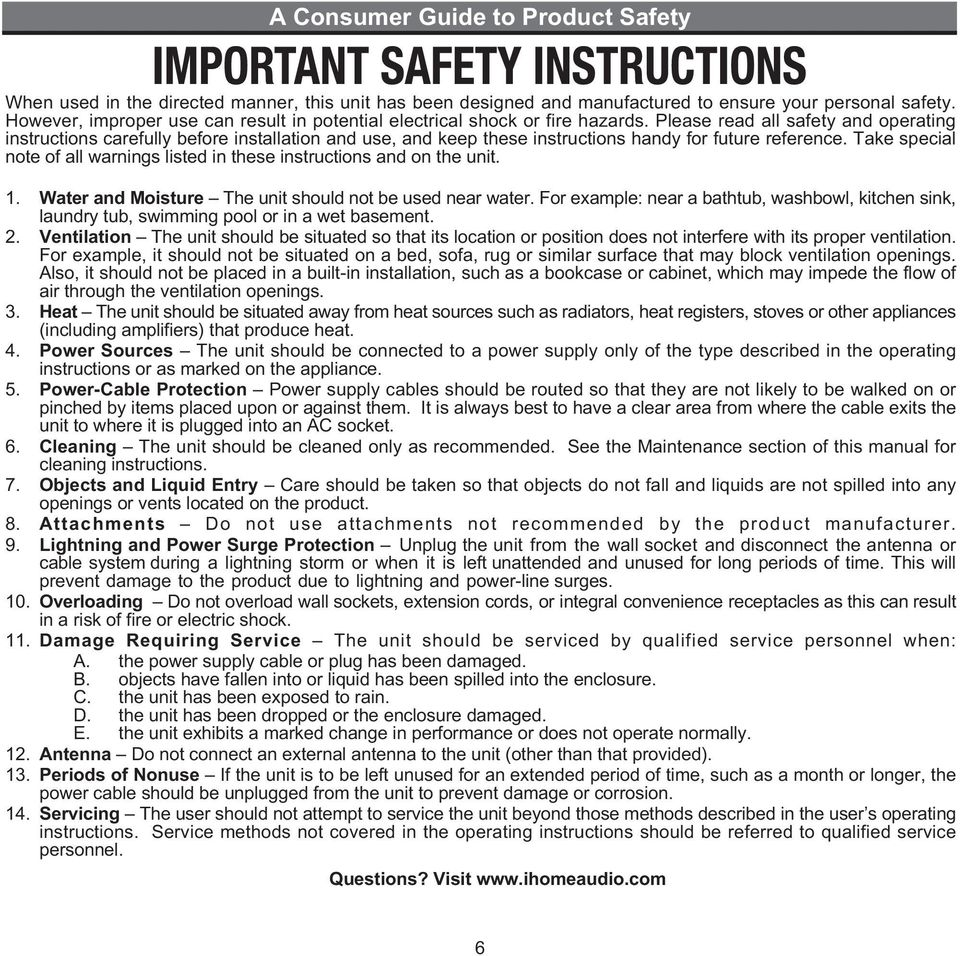 Please read all safety and operating instructions carefully before installation and use, and keep these instructions handy for future reference.