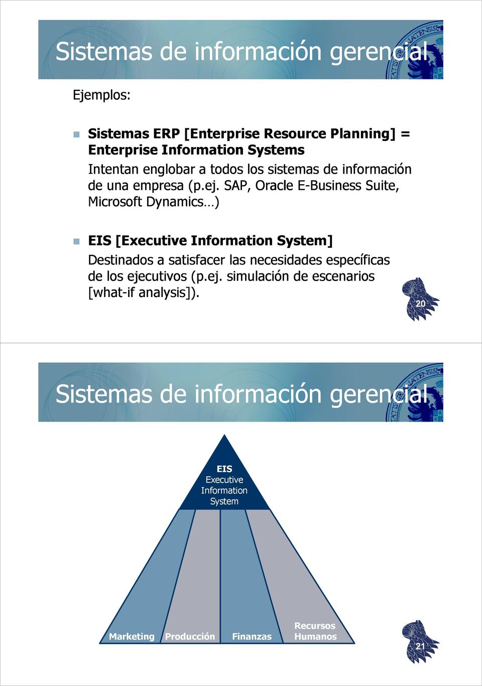 SAP, Oracle E-Business Suite, Microsoft Dynamics ) EIS [Executive Information System] Destinados a satisfacer las necesidades