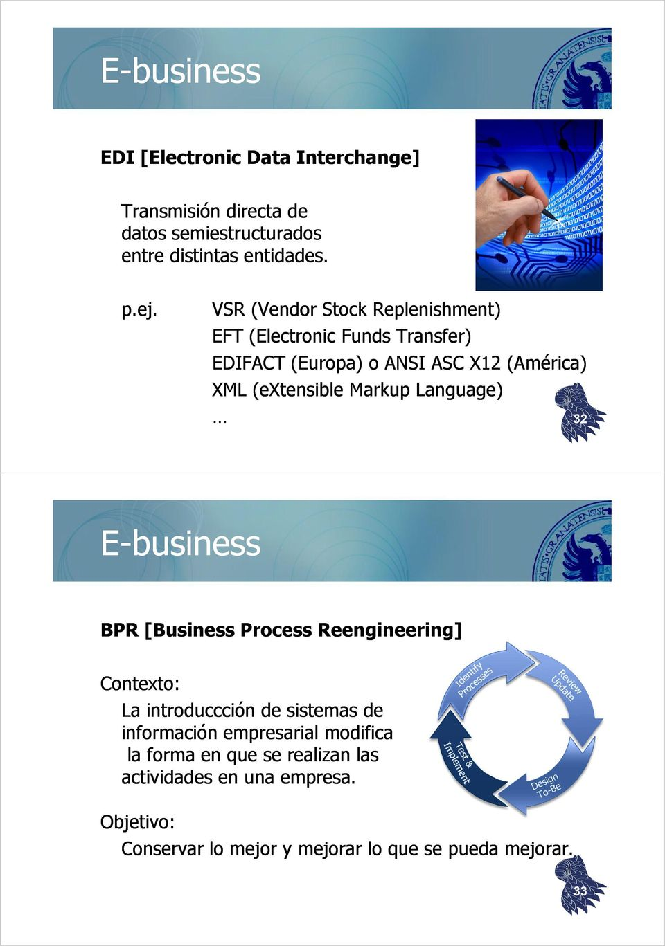 Language) 32 E-business BPR [Business Process Reengineering] Contexto: La introduccción de sistemas de información empresarial