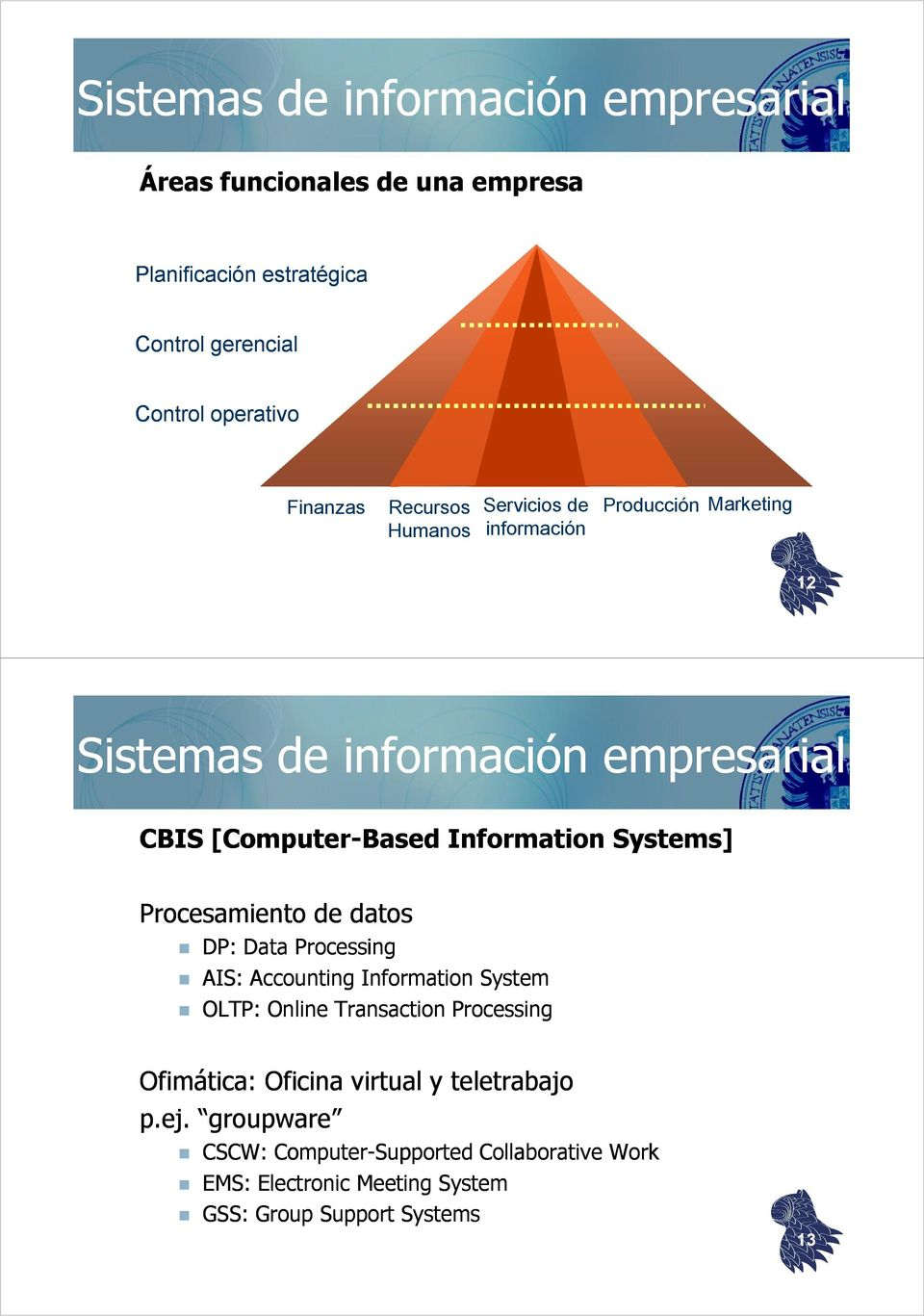 Systems] Procesamiento de datos DP: Data Processing AIS: Accounting Information System OLTP: Online Transaction Processing Ofimática: