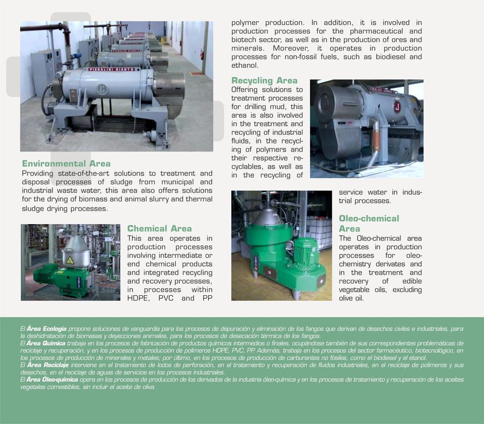 Environmental Area Providing state-of-the-art solutions to treatment and disposal processes of sludge from municipal and industrial waste water, this area also offers solutions for the drying of