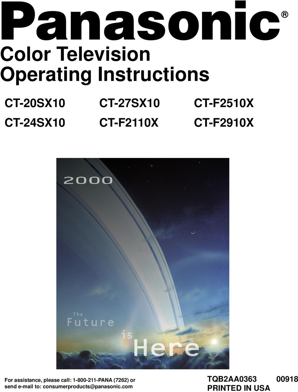 Colo Television Opeating Instctions CT-20SX10 CT-27SX10 CT-F2510X CT-24SX10 CT-F2110X CT-F2910X CT-F2110X CT-24SX10 CT-27SX10