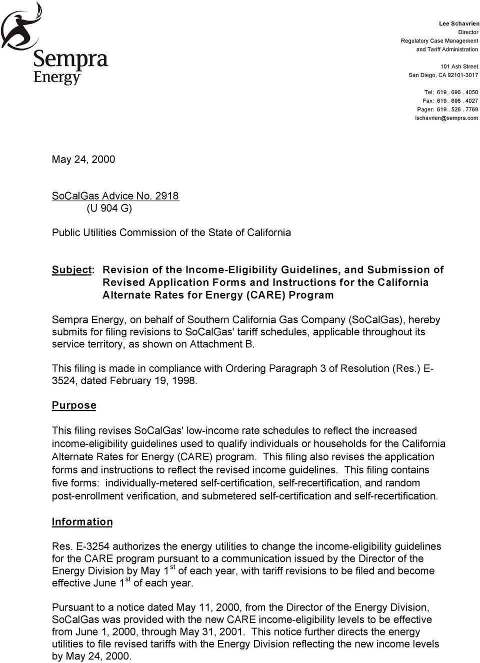2918 (U 904 G) Public Utilities Commission of the State of California Subject: Revision of the Income-Eligibility Guidelines, and Submission of Revised Application Forms and Instructions for the