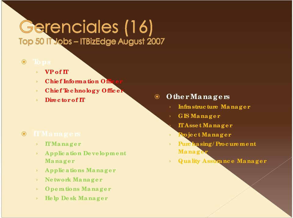Manager Operations Manager Help Desk Manager Other Managers Infrastructure Manager GIS