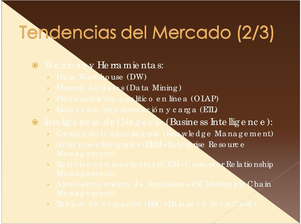 (Knowledge Management) Soluciones Integrales (ERM=Enterprise Resource Management) Relación con los clientes (CRM=Customer