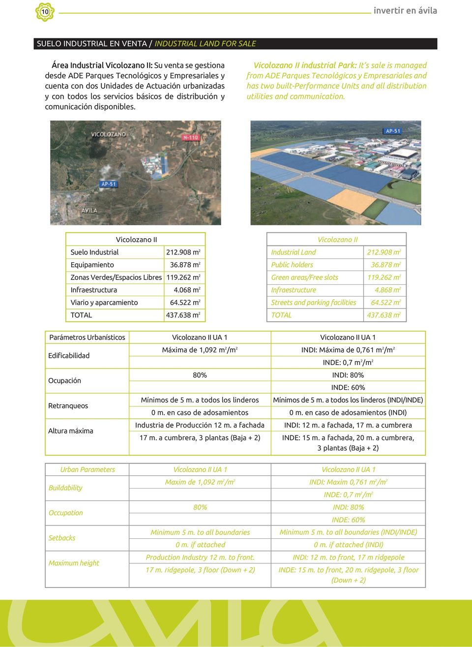 It s sale is managed from ADE Parques Tecnológicos y Empresariales and has two built-performance Units and all distribution utilities and communication. Vicolozano II Suelo Industrial 212.