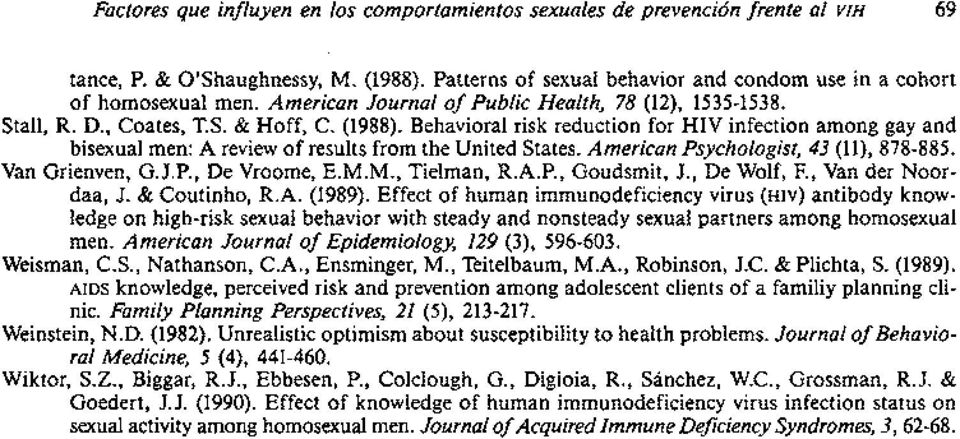 Behavioral risk reduction for HIV infection among gay and bisexual men: A review of results from the United States. American Psychologist, 43 (ll), 878885. Van Grienven, G.J.P., De Vroome, E.M.