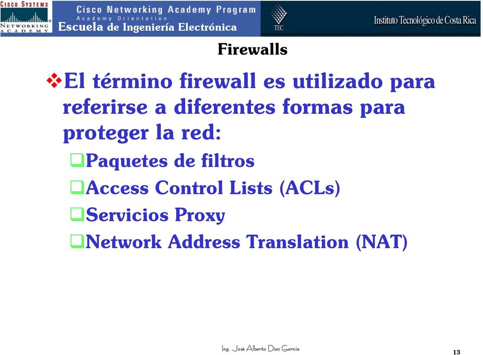 red: Paquetes de filtros Access Control Lists