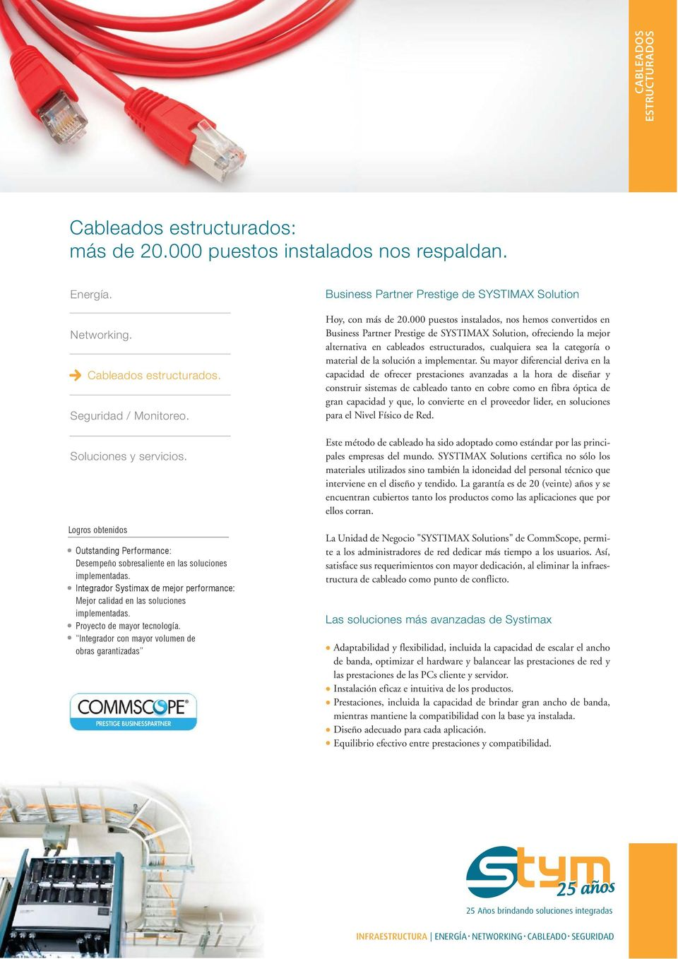 Integrador con mayor volumen de obras garantizadas Business Partner Prestige de SYSTIMAX Solution Hoy, con más de 20.
