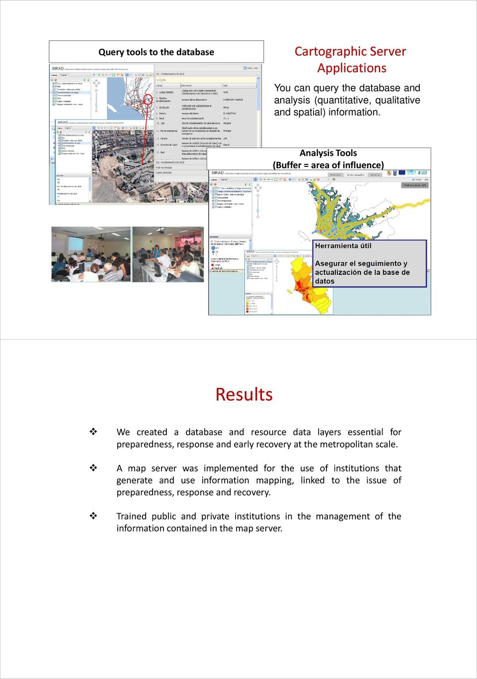 Analysis Tools (Buffer = area of influence) Results We created a database and resource data layers essential for preparedness, response and early