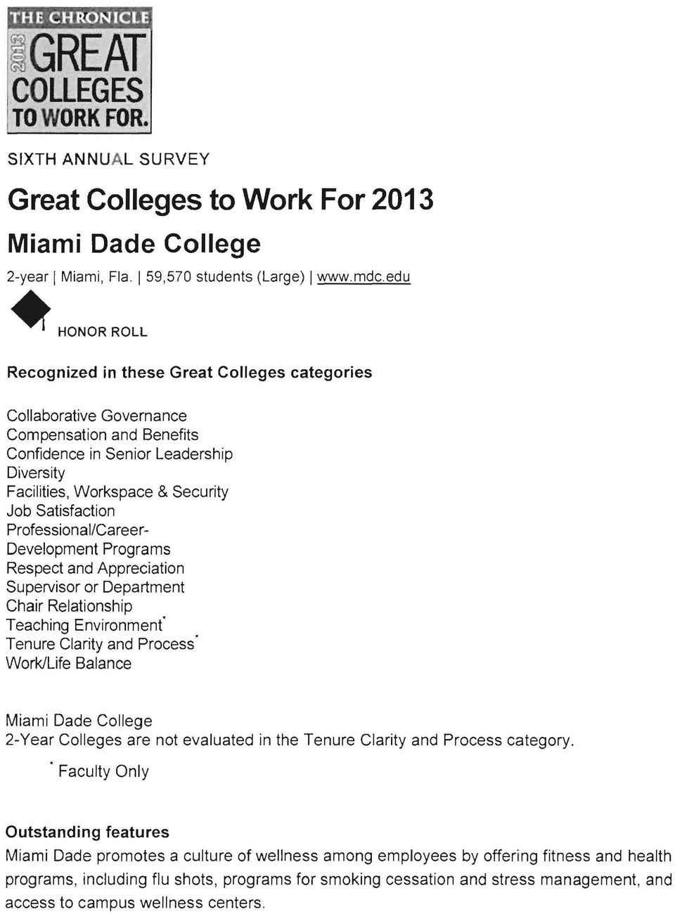 "Satisfaction Professional/Career Development Programs Respect and Appreciation Supervisor or Department Chair Relationship Teaching Environment"" Tenure Clarity and Process' Work/Life Balance Miami"