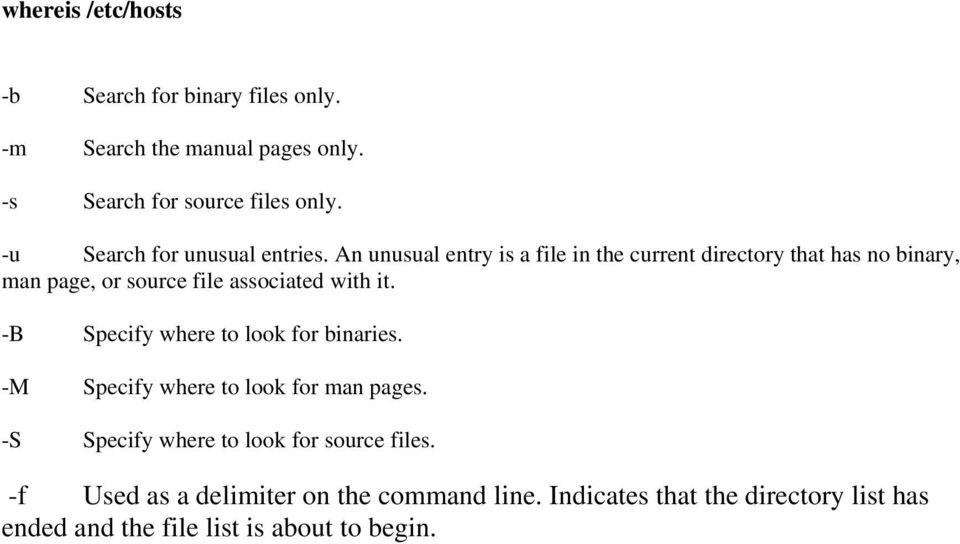 An unusual entry is a file in the current directory that has no binary, man page, or source file associated with it.