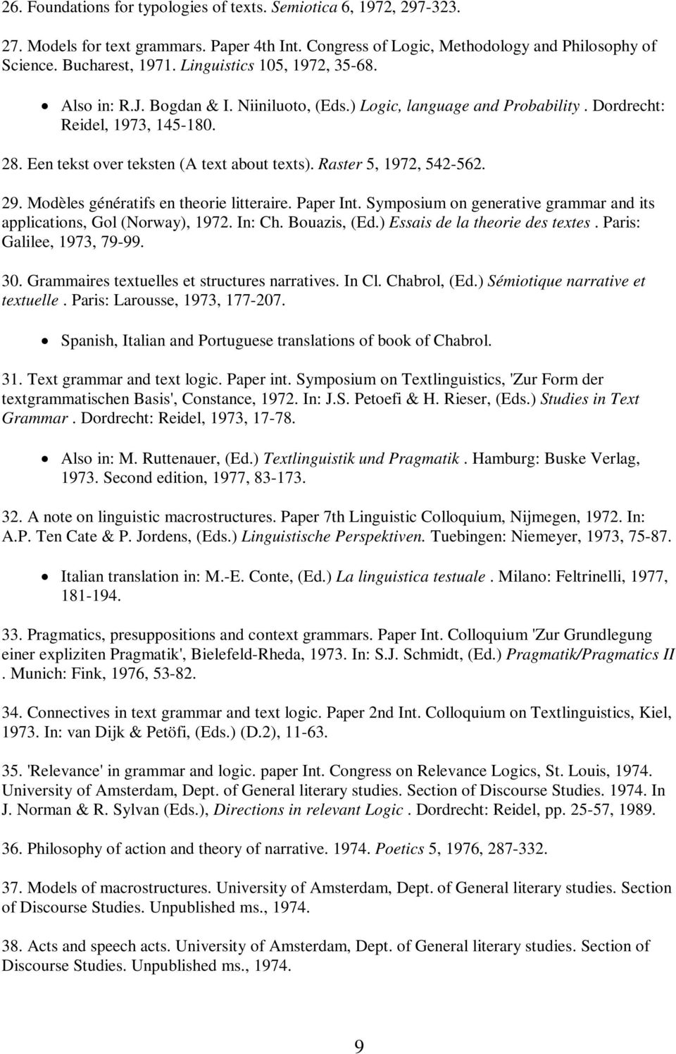 Raster 5, 1972, 542-562. 29. Modèles génératifs en theorie litteraire. Paper Int. Symposium on generative grammar and its applications, Gol (Norway), 1972. In: Ch. Bouazis, (Ed.