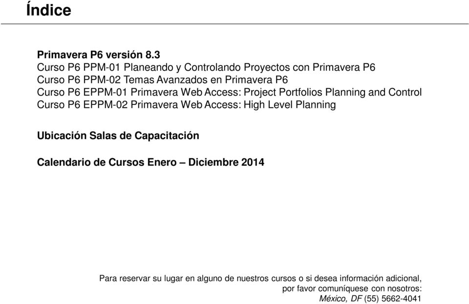 Primavera Web Access: Project Portfolios Planning and Control Curso P6 EPPM-02 Primavera Web Access: High Level Planning