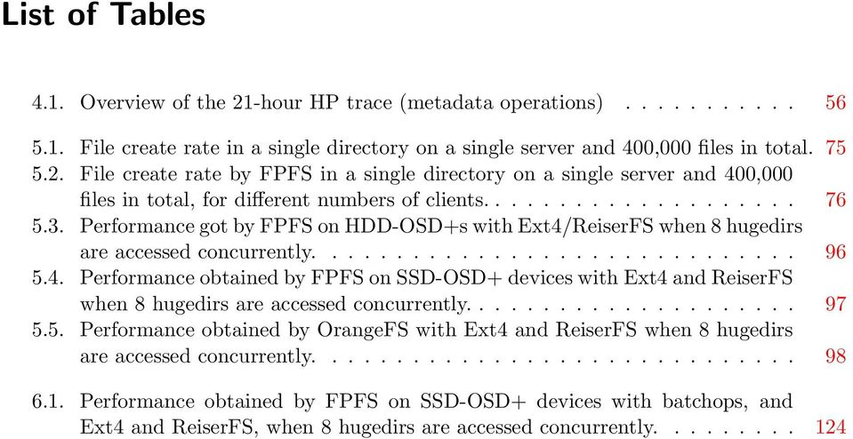 .................... 97 5.5. Performance obtained by OrangeFS with Ext4 and ReiserFS when 8 hugedirs are accessed concurrently.............................. 98 6.1.