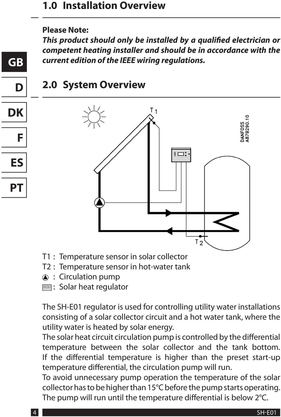 0 System Overview K T1 : Temperature sensor in solar collector T2 : Temperature sensor in hot-water tank : Circulation pump : Solar heat regulator The SH-E01 regulator is used for controlling utility
