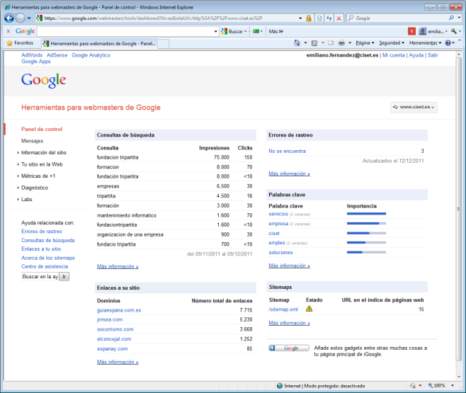 Marketing en Internet Herramientas Monitorización Google Analytics Google KeywordTool Keyword