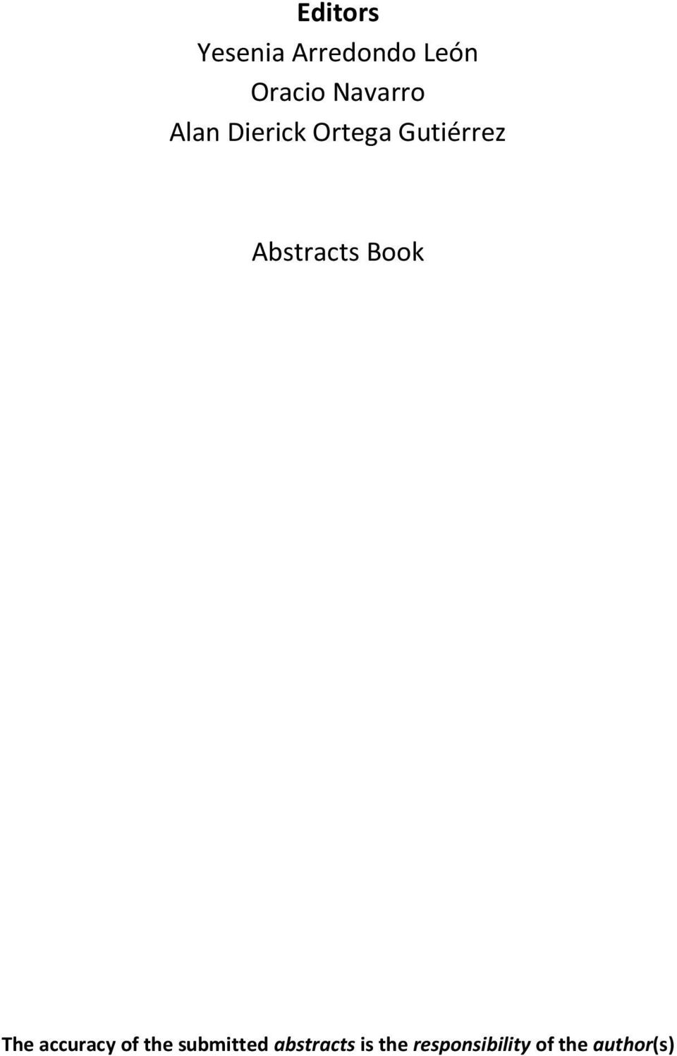 Abstracts Book The accuracy of the