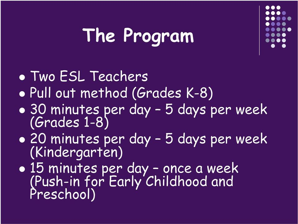 minutes per day 5 days per week (Kindergarten) 15 minutes
