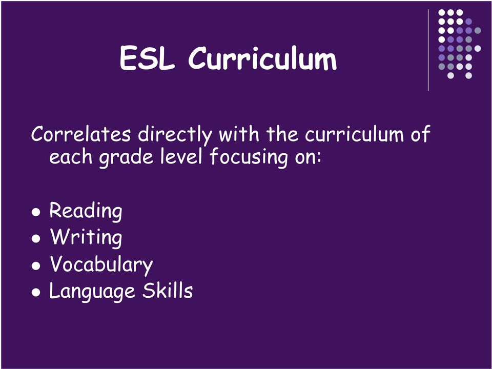 each grade level focusing on: