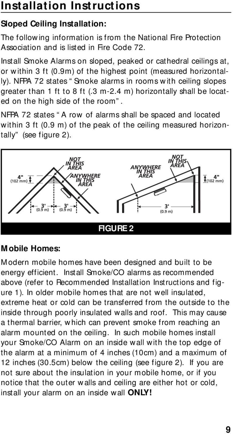 NFPA 72 states Smoke alarms in rooms with ceiling slopes greater than 1 ft to 8 ft (.3 m-2.4 m) horizontally shall be located on the high side of the room.