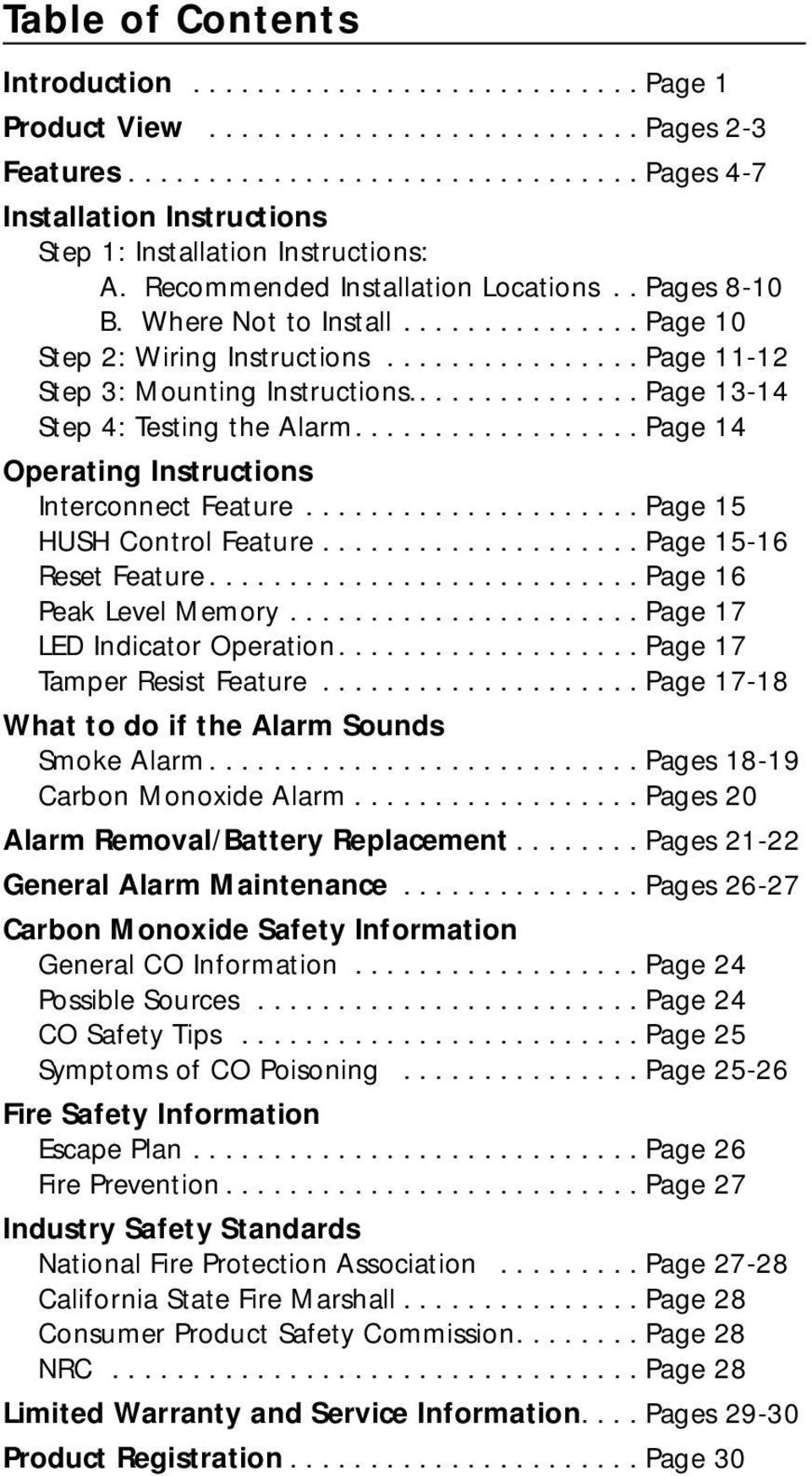 .............. Page 13-14 Step 4: Testing the Alarm.................. Page 14 Operating Instructions Interconnect Feature..................... Page 15 HUSH Control Feature.................... Page 15-16 Reset Feature.
