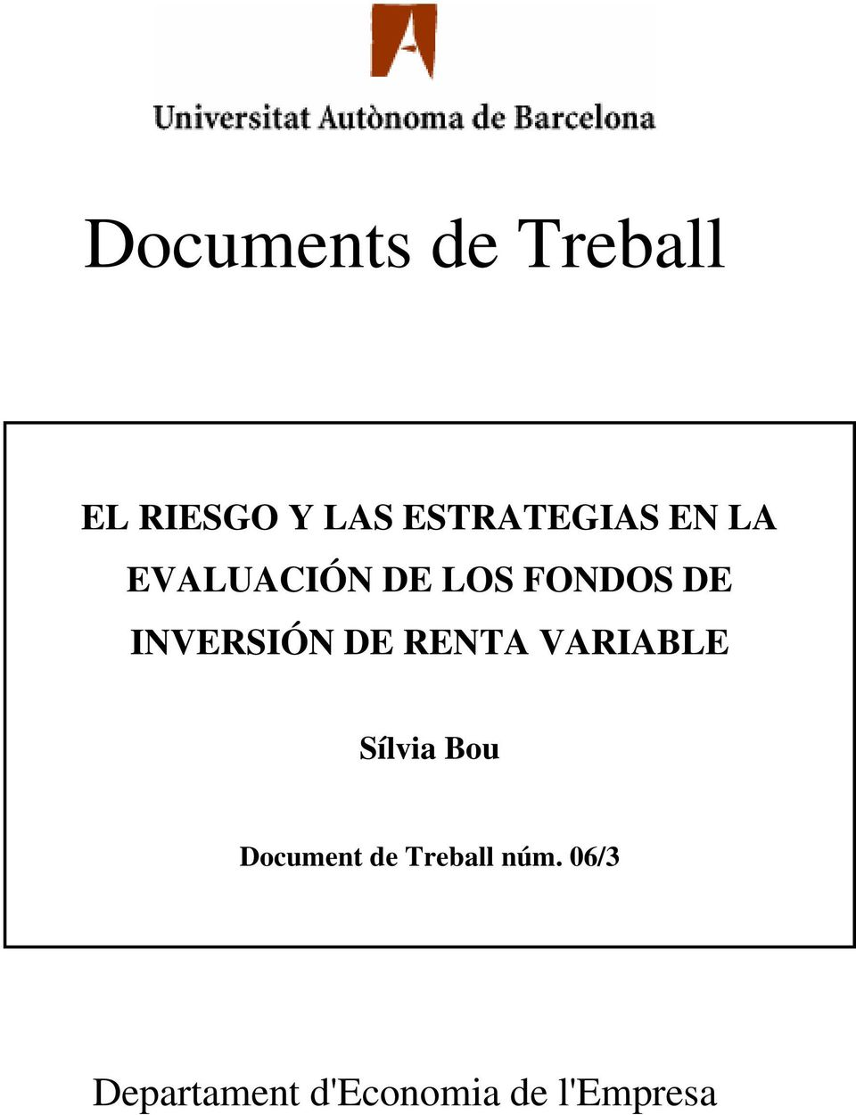INVESIÓN DE ENTA VAIABLE Sílvia Bou Document