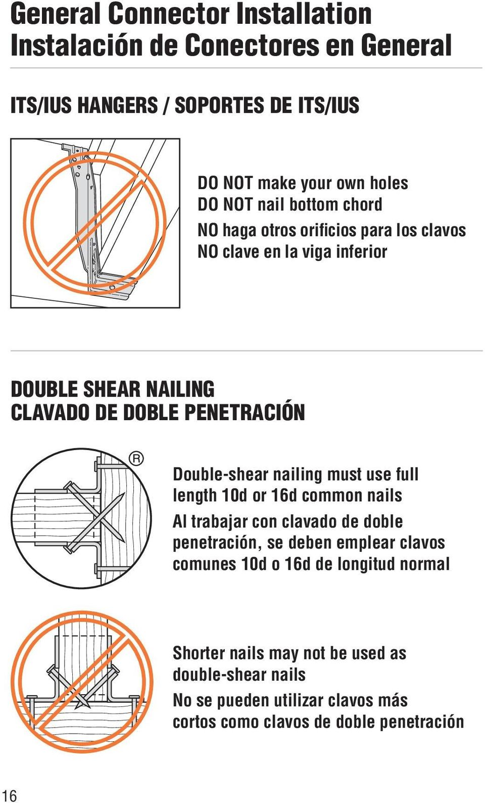 Double-shear nailing must use full length 0d or 6d common nails Al trabajar con clavado de doble penetración, se deben emplear clavos comunes