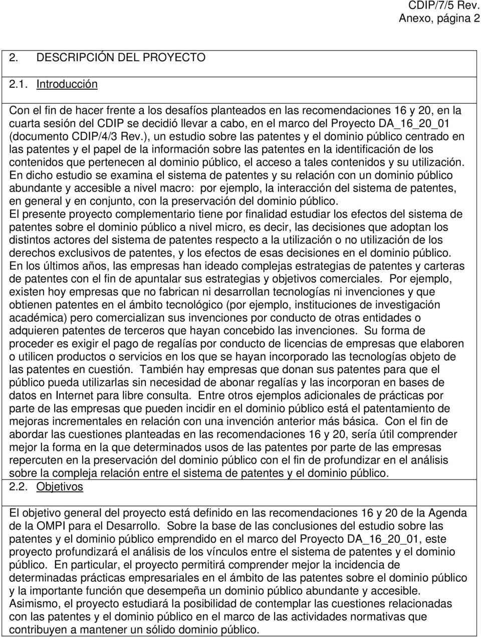 (documento CDIP/4/3 Rev.