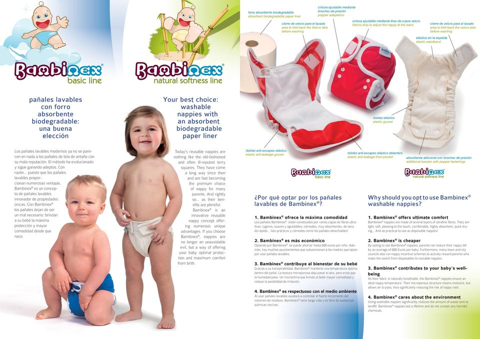 waistband pañales lavables con forro absorbente : una buena elección Your best choice: washable nappies with an absorbent paper liner doblez elástico elastic gusset Los pañales lavables modernos ya