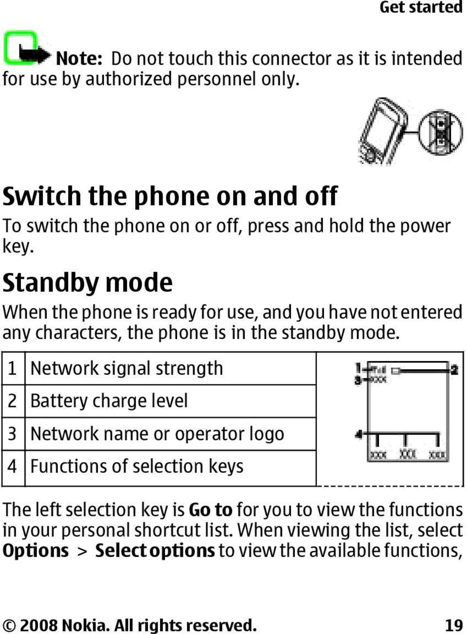 Standby mode When the phone is ready for use, and you have not entered any characters, the phone is in the standby mode.