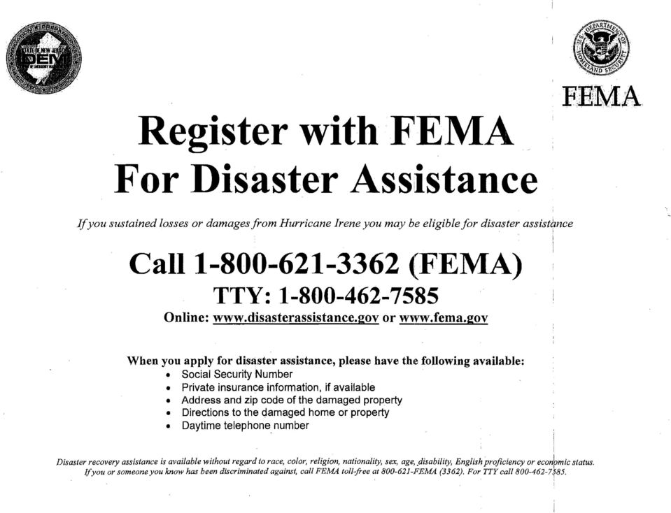 disasterassistance.gov or www.fema.