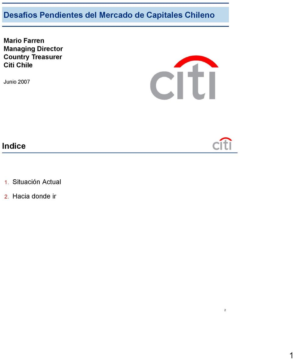 Director Country Treasurer Citi Chile