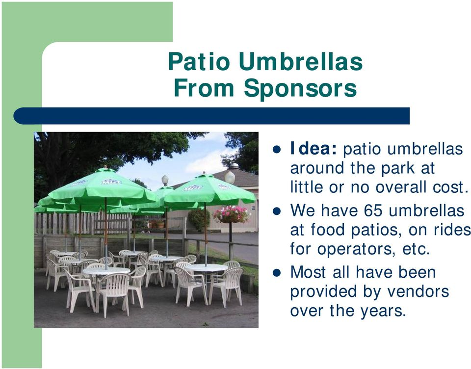 We have 65 umbrellas at food patios, on rides for