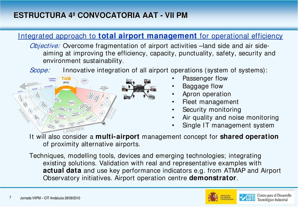 Scope: Innovative integration of all airport operations (system of systems): Passenger flow Baggage flow Apron operation Fleet management Security monitoring Air quality and noise monitoring Single