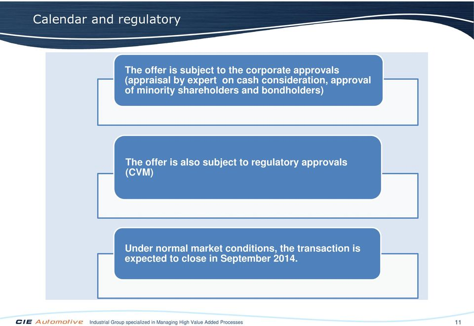 subject to regulatory approvals (CVM) Under normal market conditions, the transaction is