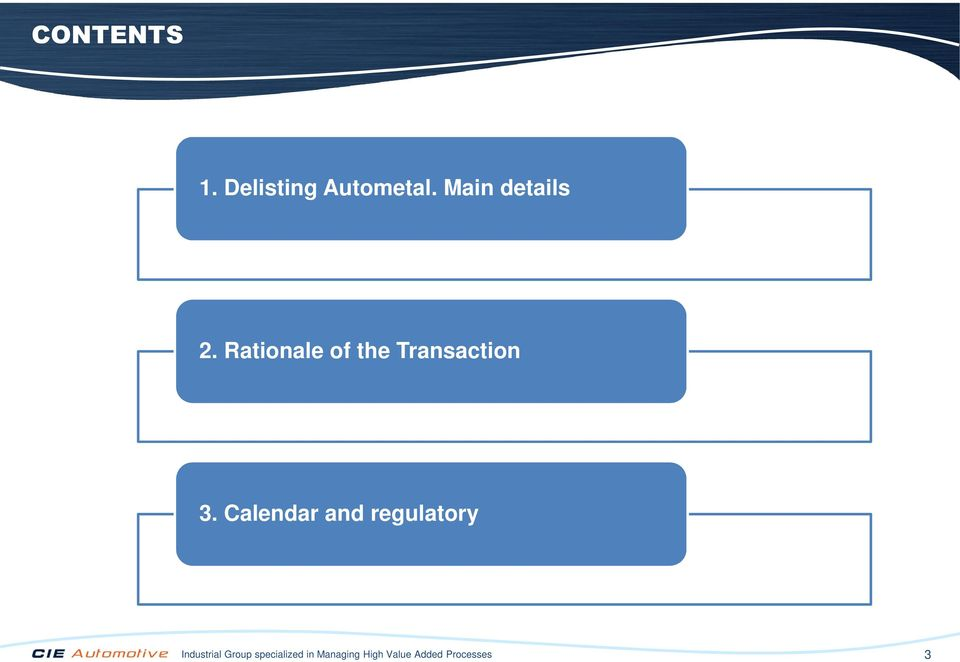 Rationale of the Transaction 3.