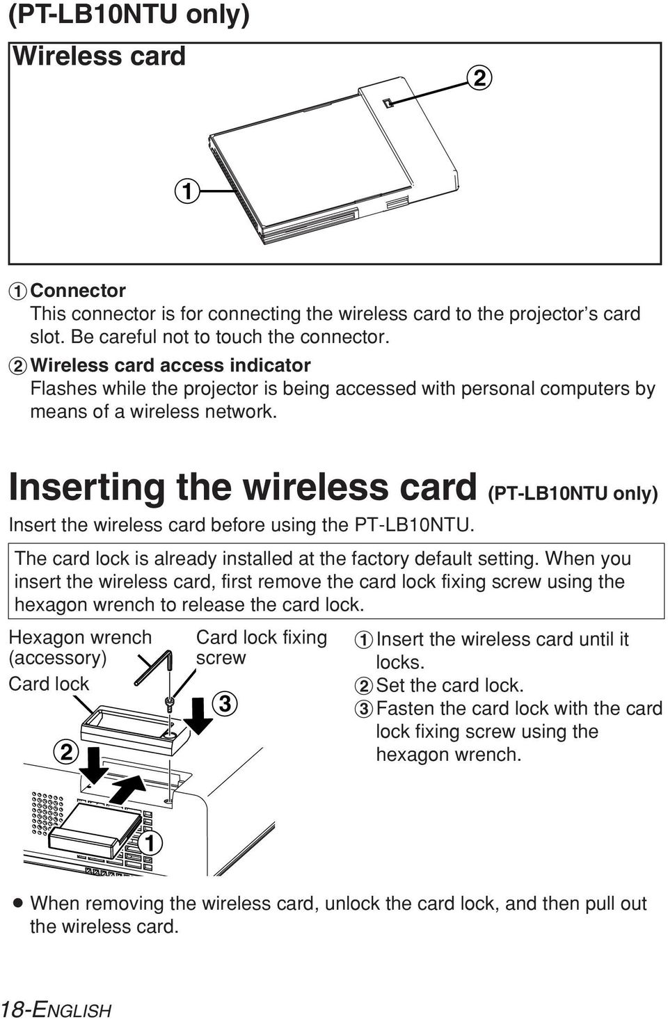 Inserting the wireless card (PT-LB10NTU only) Insert the wireless card before using the PT-LB10NTU. The card lock is already installed at the factory default setting.