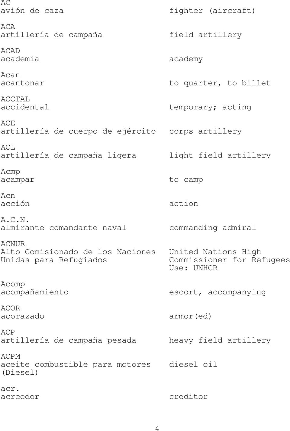 almirante comandante naval light field artillery to camp action commanding admiral ACNUR Alto Comisionado de los Naciones United Nations High Unidas para Refugiados