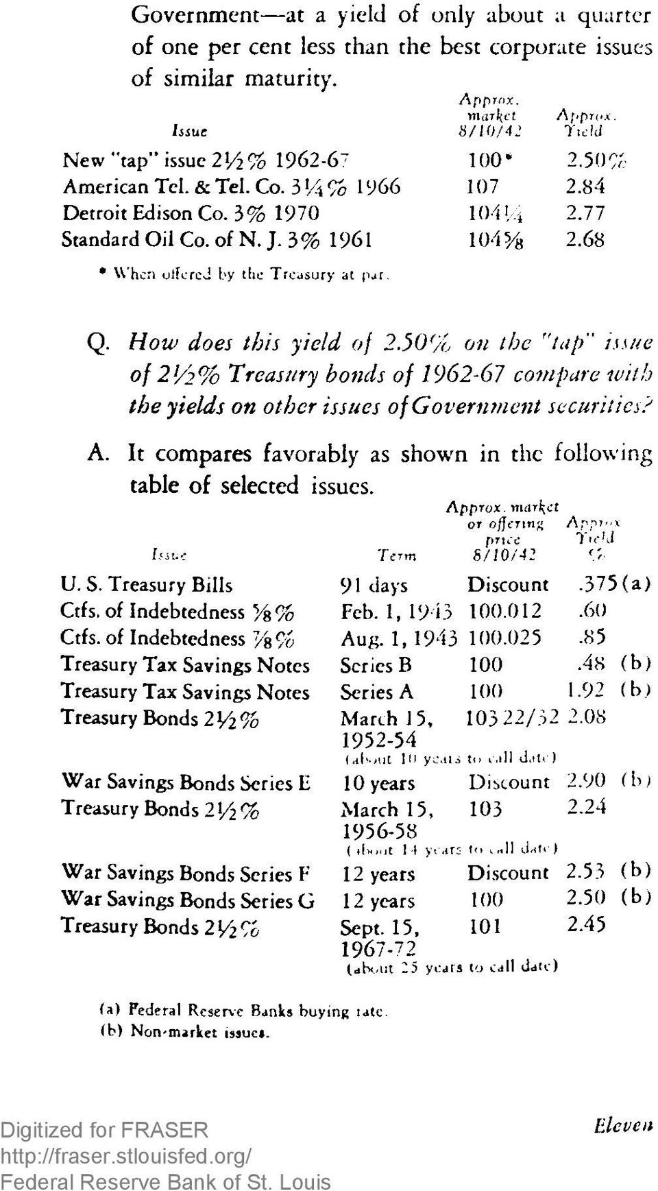 "68 Q. How does this yield of 2.50% on the ""tap issue of 2V2% Treasury bonds of 1962-67 compare with the yields on other issues of Government securities? A."