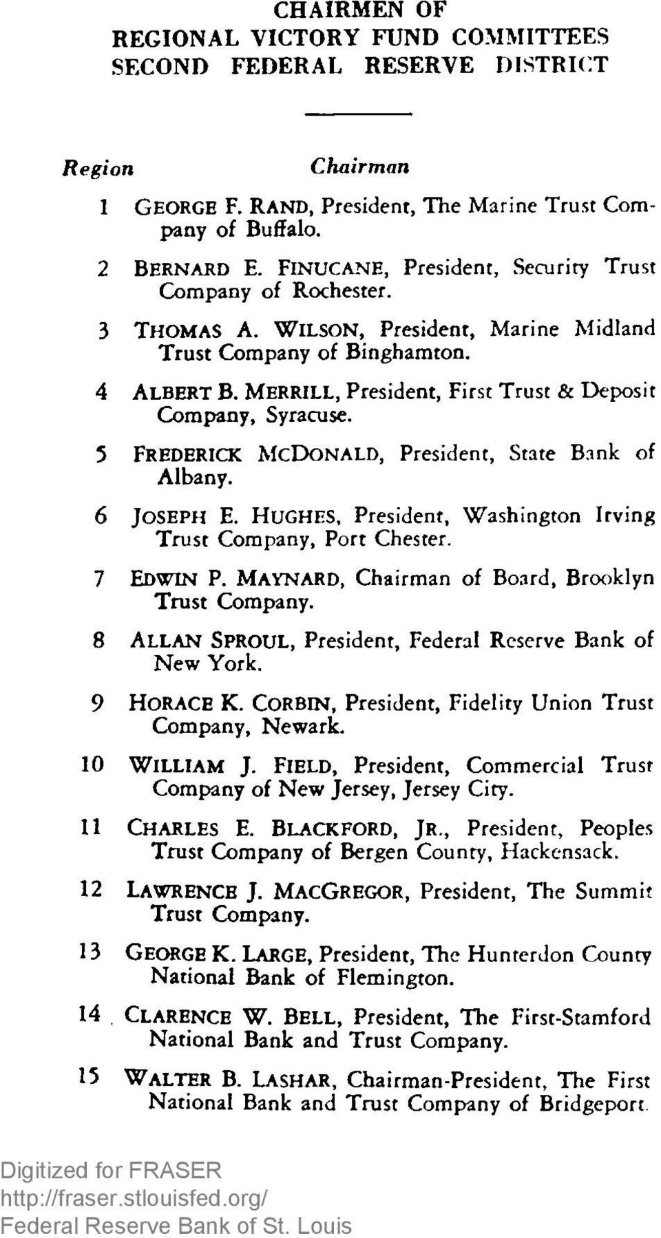 M errill, President, First Trust & Deposit Company, Syracuse. 5 Frederick M cd on ald, President, State Bank of Albany. 6 Jo se ph E.