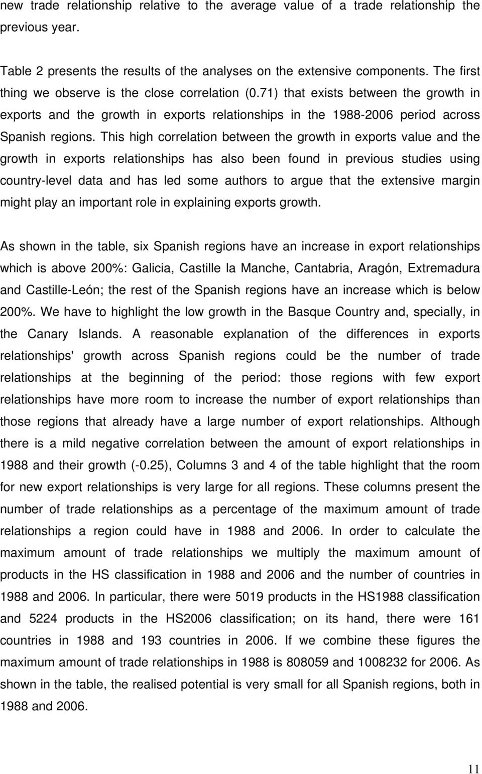 This high correlation between the growth in exports value and the growth in exports relationships has also been found in previous studies using country-level data and has led some authors to argue