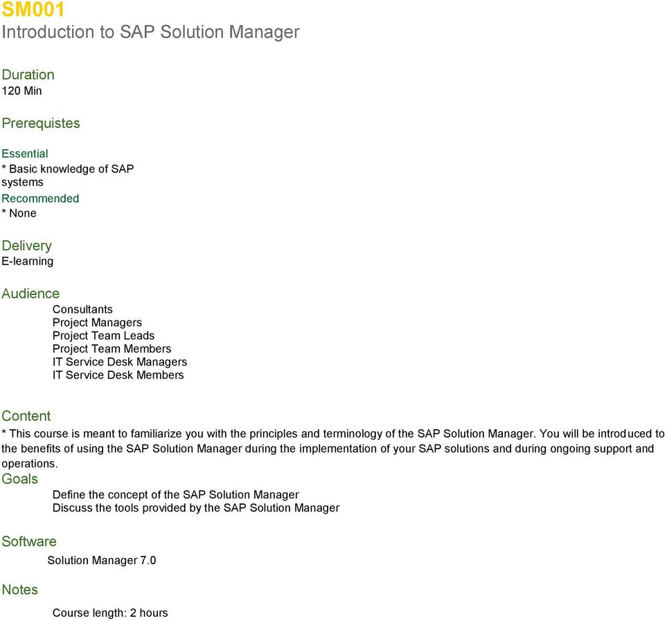the SAP Solution Manager.