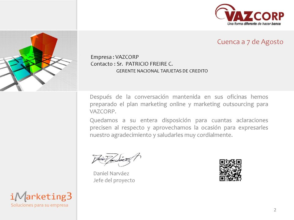 marketing online y marketing outsourcing para VAZCORP.