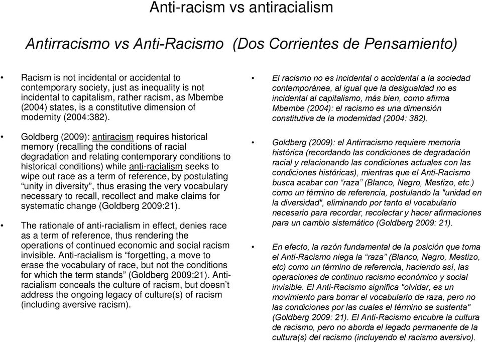 Goldberg (2009): antiracism requires historical memory (recalling the conditions of racial degradation and relating contemporary conditions to historical conditions) while anti-racialism seeks to