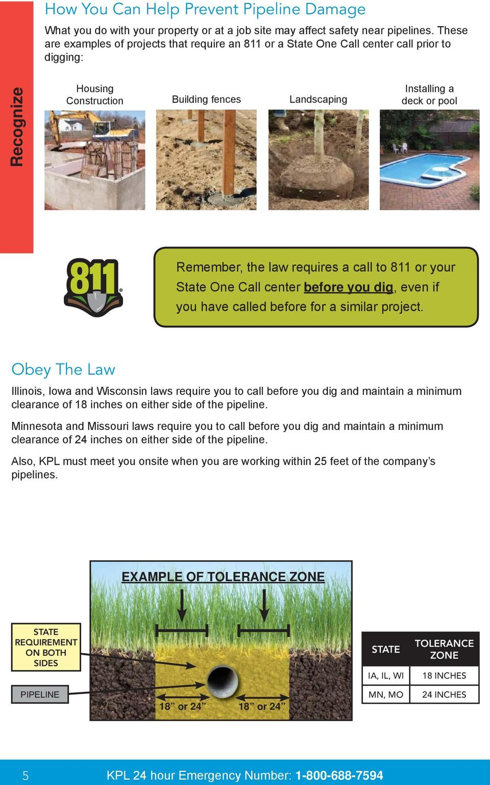 law requires a call to 811 or your State One Call center before you dig, even if you have called before for a similar project.